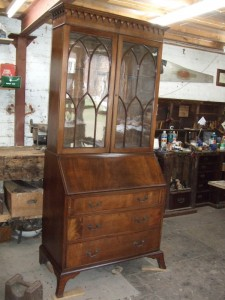 George III Mahogany Bureau Bookcase after restoration